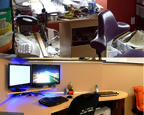 Composite image: photo of a cluttered desk on top, photo of a tidy desk at the bottom