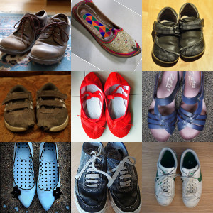 collage of nine worned pair of shoes